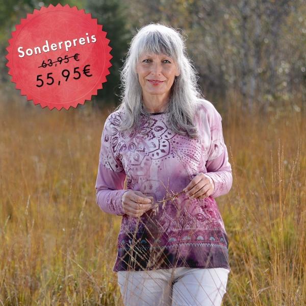 Blusen-Shirt Brombeer-Sahne langarm