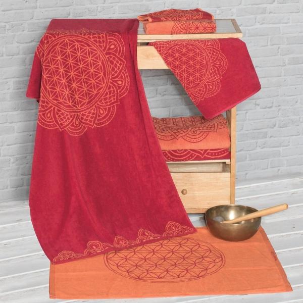 Frotteetücher mit Blume des Lebens rubinrot/koralle rot Gästetuch, Handtuch, Badetuch, Liegetuch, Badmatte