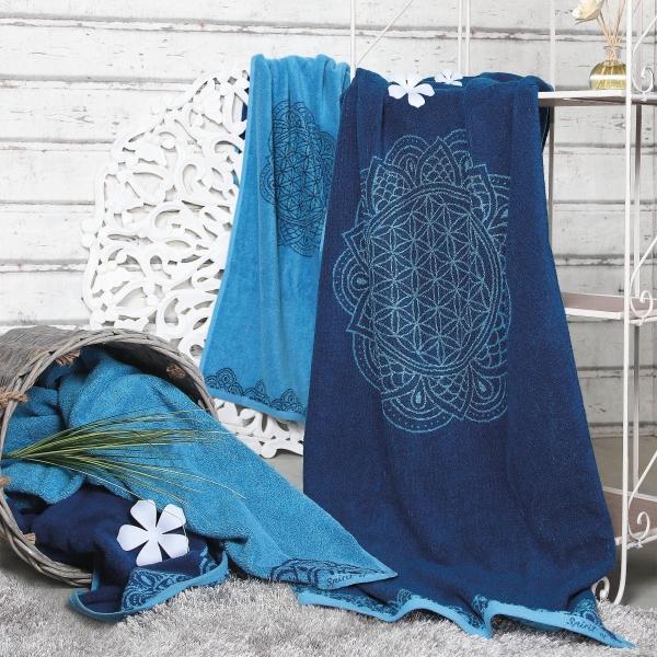 Frotteetücher Happy Flower of Life ozeanblau/azur Gästetuch, Handtuch, Badetuch, Liegetuch