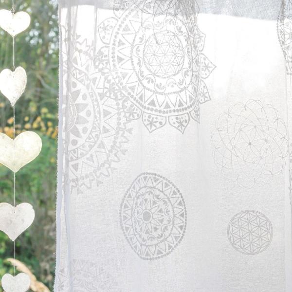 Gardine Rami 145-245cm hoch, weiß bestickt und weiß-silber bedruckt 145cm breit