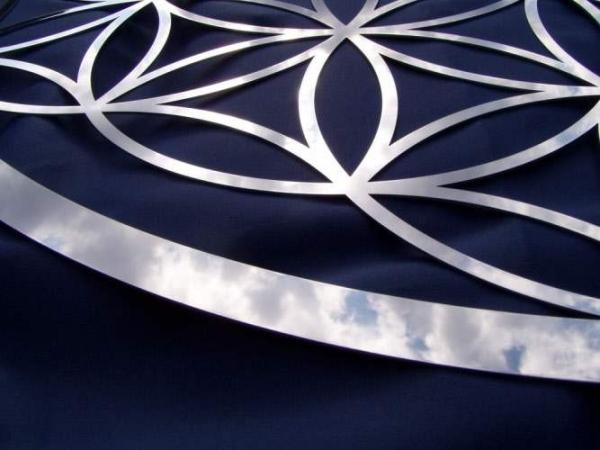 Blume des Lebens Wandschmuck aus Edelstahl 480 mm x 1,5mm